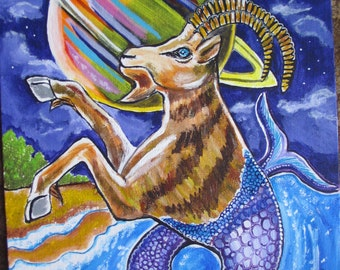 Capricorn Astrology Painting Goat with Saturn Zodiac Art to Custom fit your Retro Home Decor