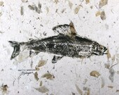 Arctic Grayling Original GYOTAKU Fish Rubbing 18X12 Lake House Cottage decor on leaf embedded paper