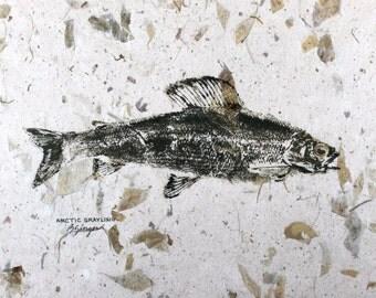 Arctic Grayling Original GYOTAKU Fish Rubbing 18X12 Lake House Cottage decor Canada Alaska on leaf embedded paper