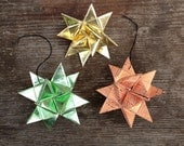 Vintage Origami Ornaments,  20 Japanese Origami Bows, Stars