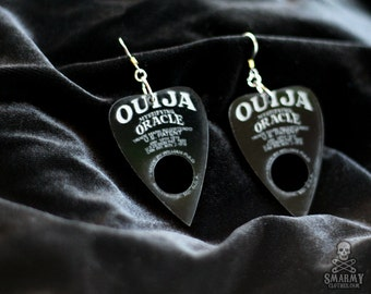 black Ouija planchette earrings - smarmyclothes halloween gothic occult