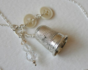 Vintage Silver 1924 Thimble Charm Necklace Glass Buttons Crystal Charm