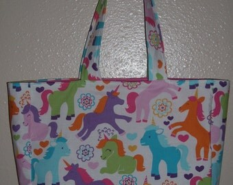 Bright unicorns book bag