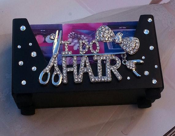 I do hair rhinestone bling wood business card holder for Bling business card holder