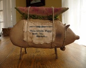Primitive pig watermelon shelf sitter cupboard tuck