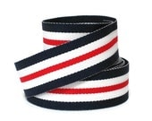 "7/8"" Striped Grosgrain Ribbon by the yard / Nautical Stripe / Red White Blue Striped Ribbon / Hair Bow Supplies / Preppy Ribbon made in USA"