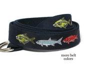 Fishing Belt / Fish Canvas Belt / D-ring Webbing Belt / Ribbon Belt for men, teens big & tall men / Nautical Belt - Fish Men's Gift