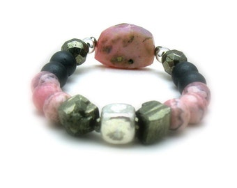 Pink Peruvian Opal Boho Chic Beaded Bracelet, Luxe Statement Bracelet, Pyrite and Opal Stretch Bracelet, for Her Under 350