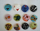 Ceramic Round DooDles Dots - Handpainted HP Mosaic Tiles