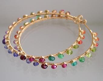 Multi Gemstone Gold Filled Hoops, Rainbow Gem Earrings, Bohemian Hoops, Amethyst, Tsavorite, Tanzanite, Signature Original