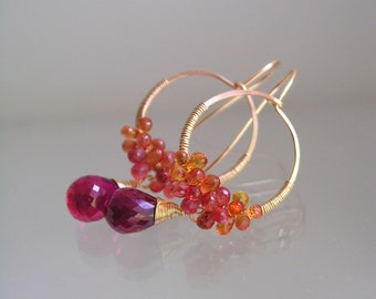 Fiery Orange Sapphire Gold Hoops, Wire Wrapped Earrings with Raspberry Quartz Dangles
