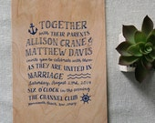 By The Sea Real Wood Wedding Invitation