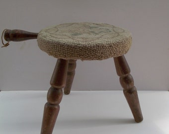 Vintage Milking Stool Primitive Country Floral Textile Shabby