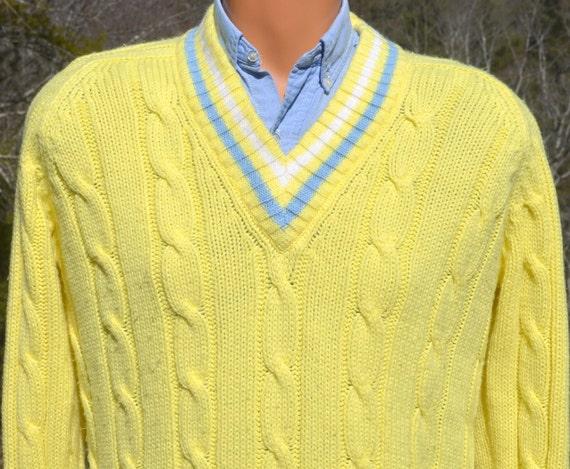vintage 70s TENNIS sweater v-neck stripes cable knit preppy