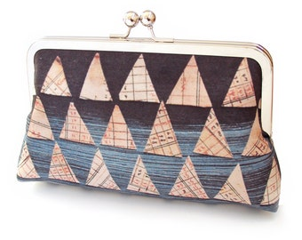 Triangles clutch bag, silk purse, blue, orange, white, printed silk, gift box, ON SALE