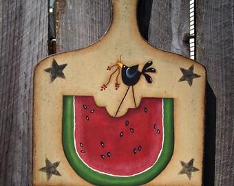 Primitive Summer Watermelon Crow Wood Cutting Board Home Decor Decoration