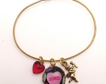 XOXO Sweet Heart, Cupid Charm and Red Heart Bracelet Valentine or Anytime