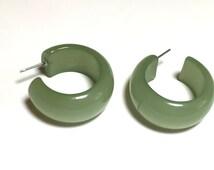 Celadon Green Moonglow Bold Hoops -  lucite hoop earrings