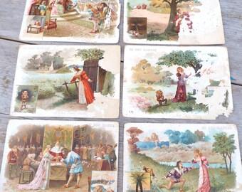 Vintage Antique 1900s  French chromolithograph  illustration visit card/ Au bon marche set of 6 Nain Jaune