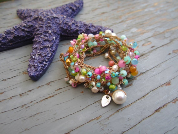 Blossoms summer crocheted 5x bracelet wrap or necklace, natural earthy crocheted jewelry, seen on front page of etsy