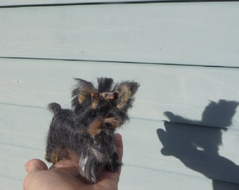Needle Felted Yorkie / Your Dog in Miniature by Fiber Artist GERRY  Fully Poseable
