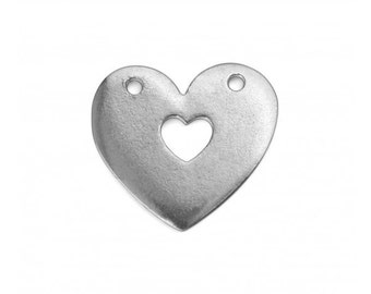 "2 Soft Strike Lead Free Pewter 1"" x 1"" Heart with Heart Cutout Stamping Blanks, Impress Art"
