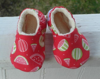 Baby Shoes, Baby Slippers, Summer Baby Shoes, Watermelon, Watermelon Baby Shoes, Baby Girl,Soft Sole Baby Shoes, Baby Shower Gift