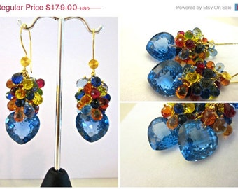 ON SALE Sale, London Blue Topaz Earrings, Heart Shaped Stones, Paparadscha, Citrine,  24K Gold Vermeil, One Of A Kind Earrings