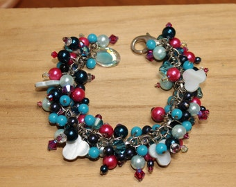 French blue and pink beaded charm bracelet FREE SHIPPING