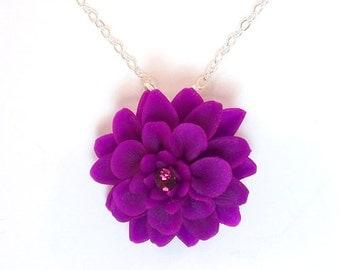 Chrysanthemum Necklace - Mum Jewelry, November Birthday Birth Flower