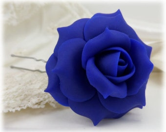 Blue Rose Hair Clip Pin - Blue Rose Hair Flower, Blue Flower Hair Pin
