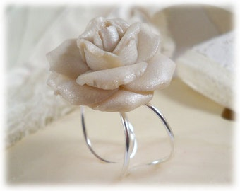 Large White Rose Ring - White Rose Jewelry Collection, White Flower Ring