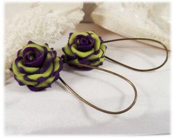 Purple Tip Chartreuse Green Rose Petal Earrings