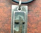 Letterpress t Pendant,  Oxidized Sterling Silver