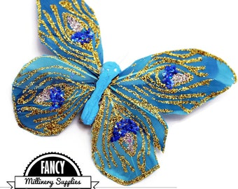 1 - Fake - Peacock - Butterfly - Artificial Butterfly - Turquoise