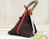 Recycled Sweater Triangle Pouch in Chocolate Brown Orange Green and Blue