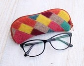Felted Wool Glasses Case Colorful Patchwork Glasses Case in Yellow Pink Orange and Greens