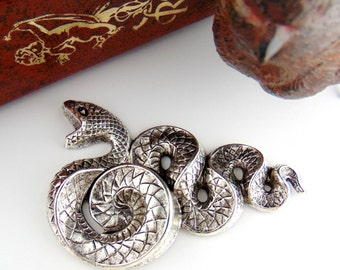 SILVER Large Snake - Serpent Stamping ~ Jewelry Antique Silver Findings (C-503) #