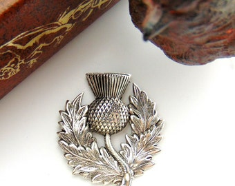 SILVER Scottish THISTLE Silver Ox Brass Stampings - Jewelry Ornament Findings (FB-6106)