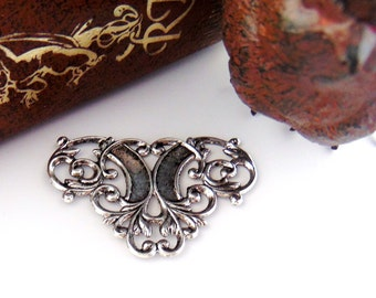 SILVER (4 Pieces) FLOURISH Scroll Connector Scroll Stamping - Jewelry Ornament Antique Silver Findings (D-3)