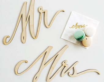 Wood Laser Cut Mr and Mrs Chair Signs