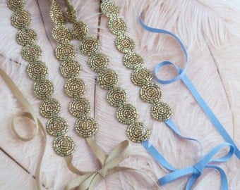 Antique Gold Beaded Ribbon Headband