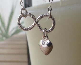 Infinity Heart Necklace, Handmade Infinity Symbol with Tiny Puffy Heart, Sterling Silver Infinity Necklace, Gift Idea, Sister, Grandma Gift