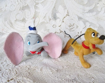 Vintage 1960's Set Of 2 Disney Character Christmas Ornaments, Dumbo And Pluto