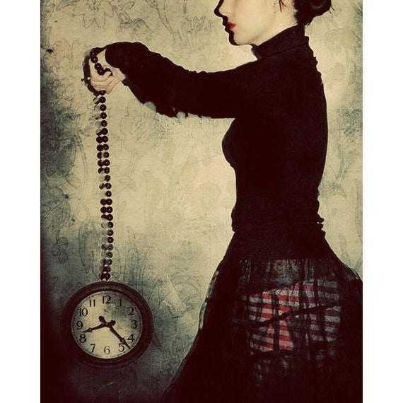 Steampunk Photograph, Clock Portrait, Tick Tock, Halloween Decor, Gothic Photo, Victorian Dark Art, Fine Art Print, Wonderland