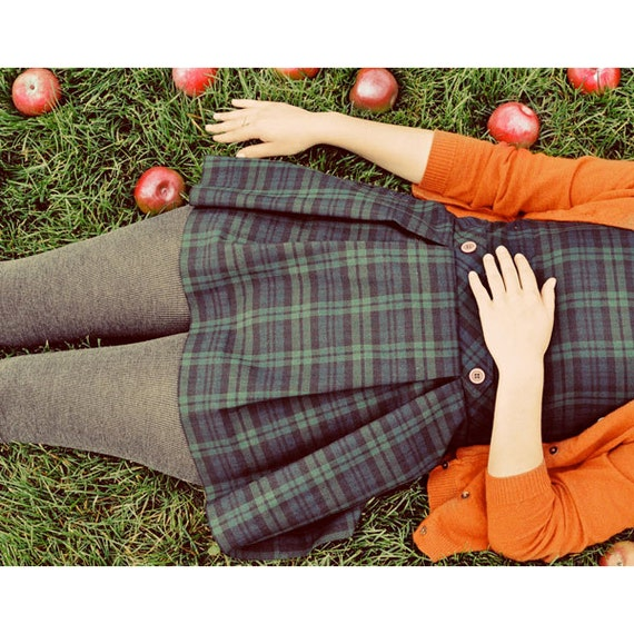 Retro Portrait, Apple Photograph, Whimsical, School Girl Photo, Fall Colors, Orange, Green, Fine Art Print, Modern Home Decor,Vintage Colors