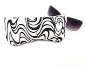 Sunglasses Case, Eyeglass Case, Glasses Sleeve, Fabric Sunglass Holder, Retro Black White Swirls