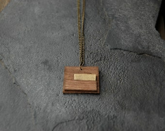Wood and gold paint rectangle pendant