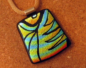 Hand Etched Dichroic Pendant - Fused Glass Pendant - - Dichroic Jewelry - Fused Glass Jewelry