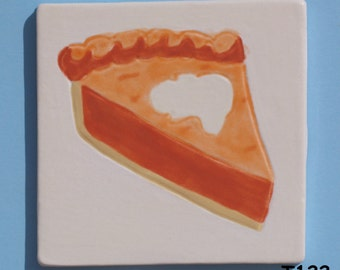 "3"" x 3"" TILE of a piece of pie-Handmade Ceramic Tiles for your Project T122"